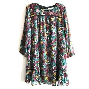 Loft Floral Print Boho Long Sleeved Dress Large